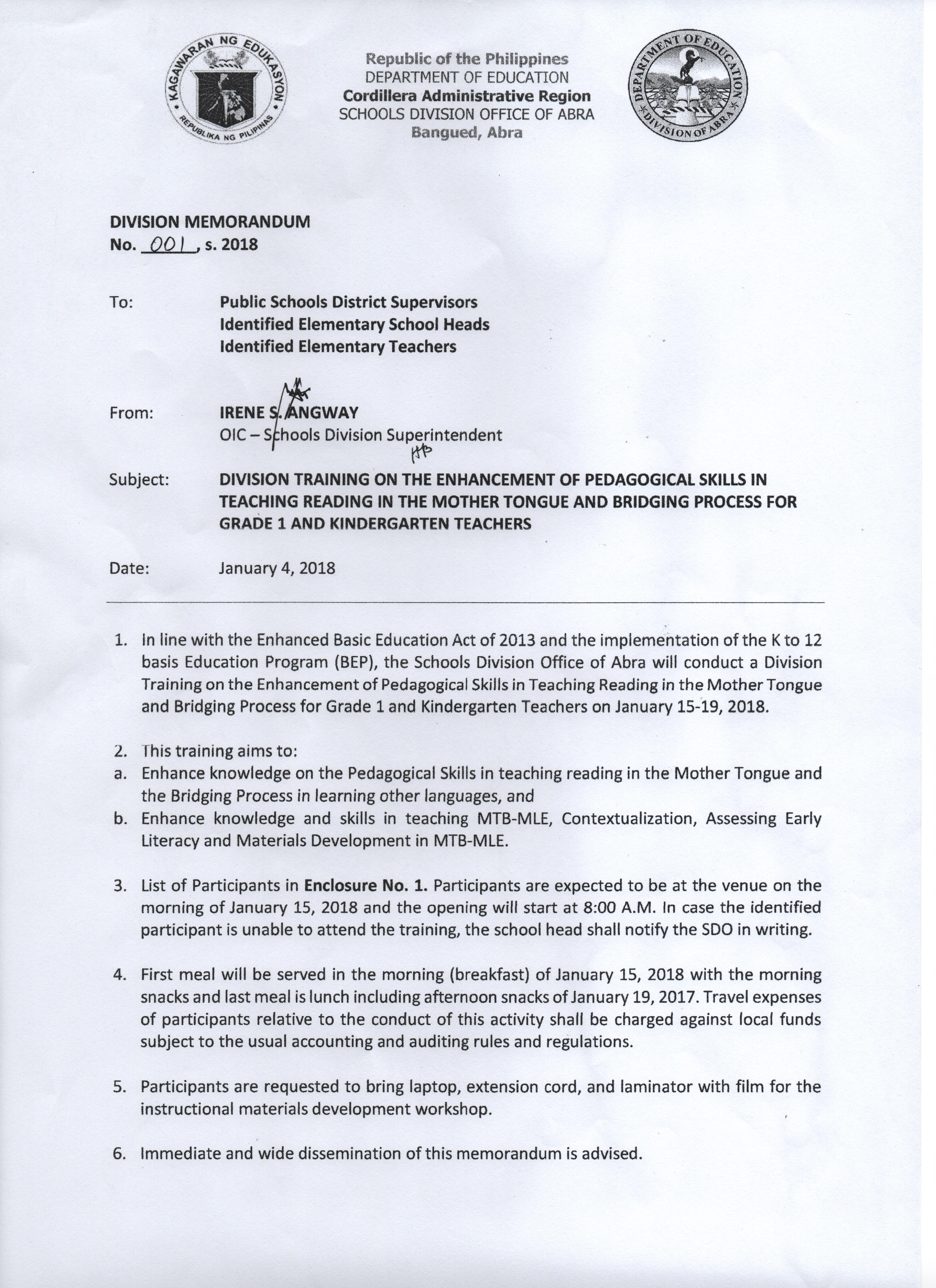 DepEd Division Memo Archives - Page 10 of 25 - Welcome to
