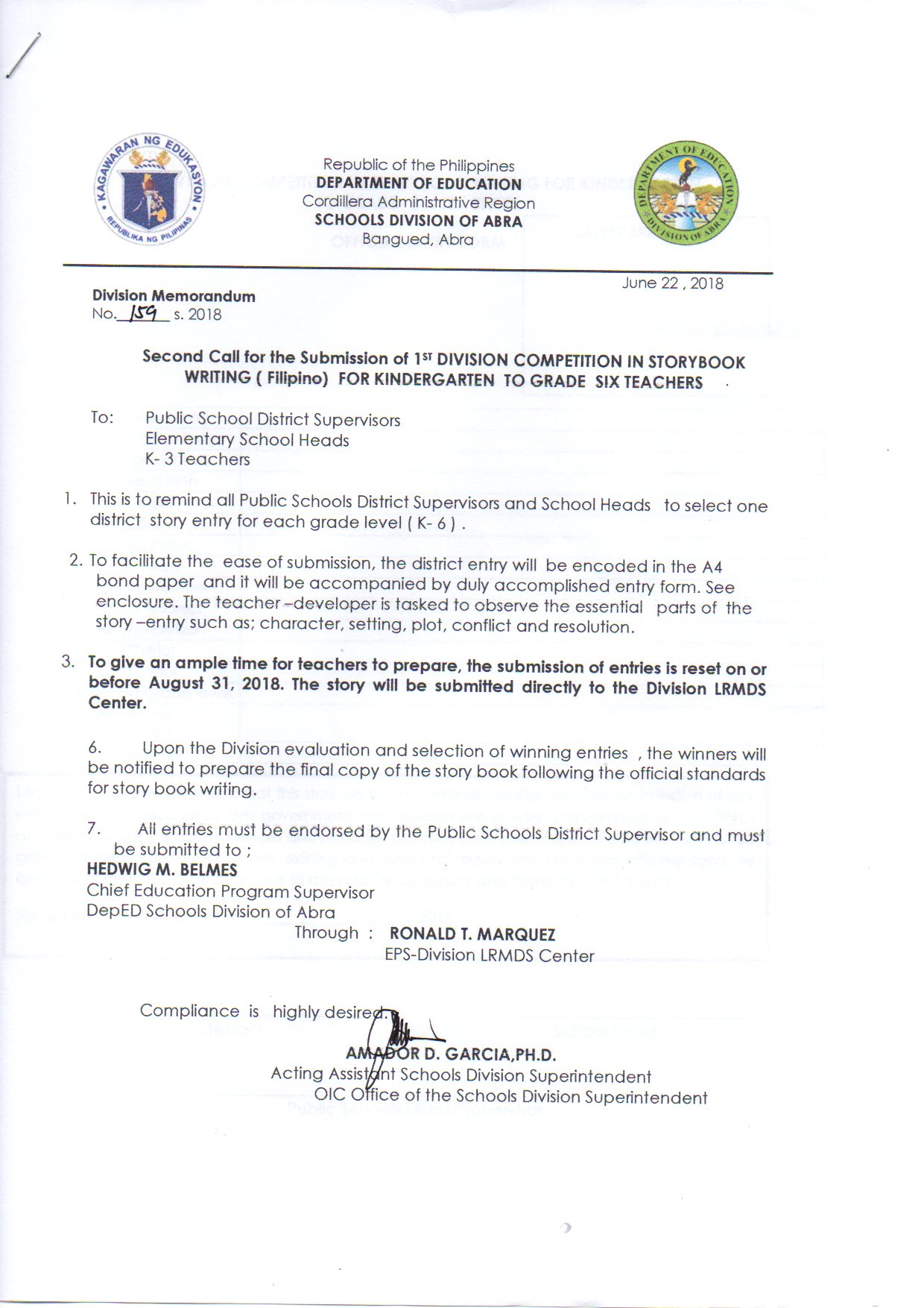 DepEd Division Memo Archives - Page 7 of 25 - Welcome to the